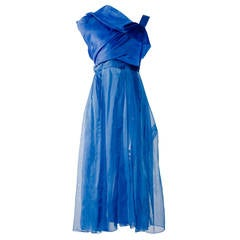 1950s LANVIN- Castillo haute couture blue silk organza cocktail dress