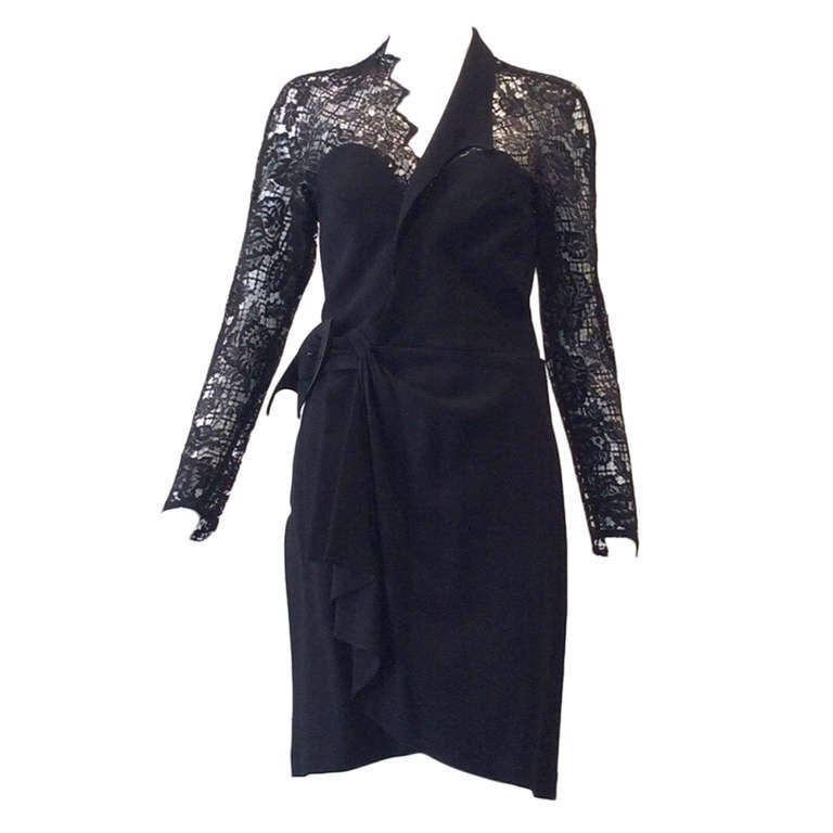 Sexy Vintage 1990s THIERRY MUGLER Black Lace Wrap 90s Dress