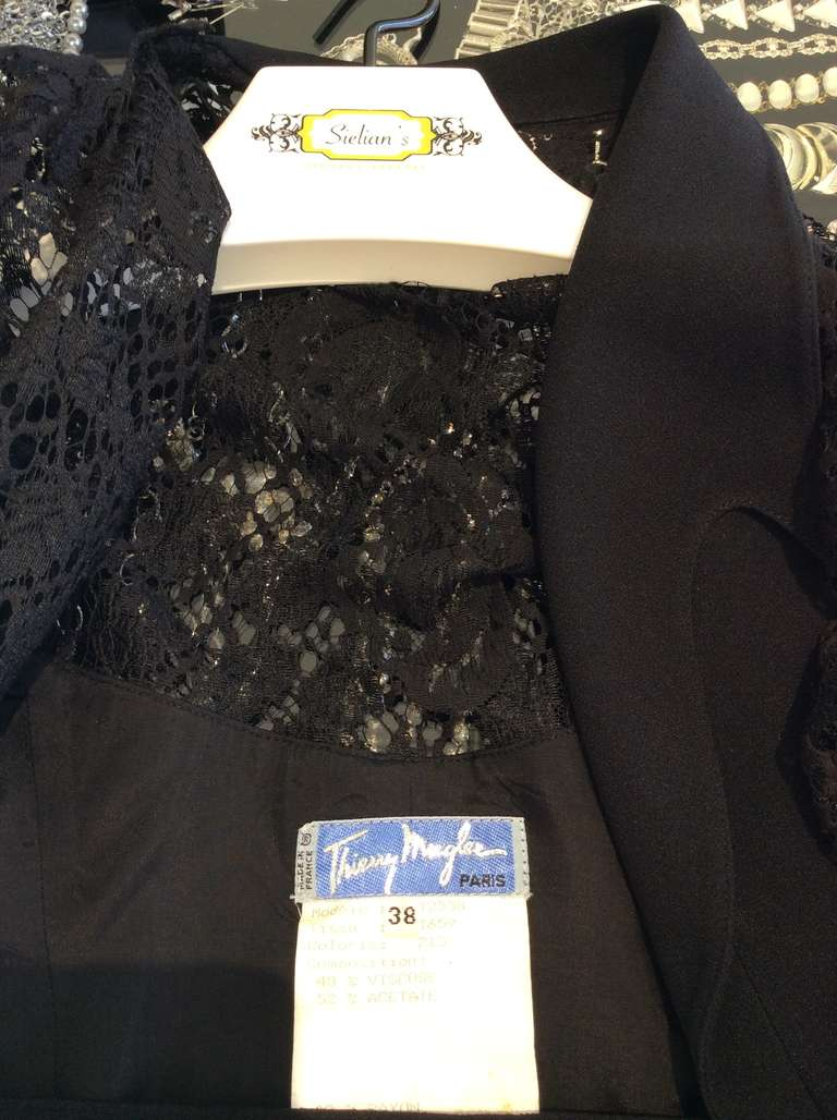 Sexy Vintage 1990s THIERRY MUGLER Black Lace Wrap 90s Dress For Sale 1