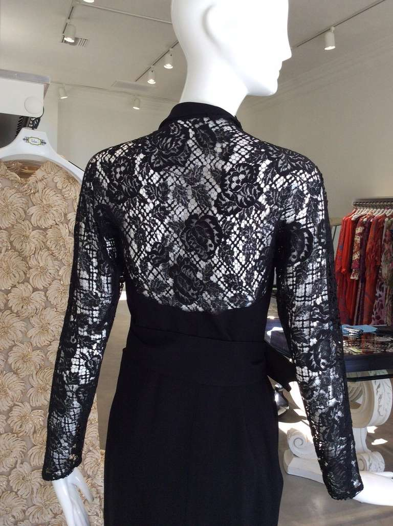 Women's Sexy Vintage 1990s THIERRY MUGLER Black Lace Wrap 90s Dress For Sale