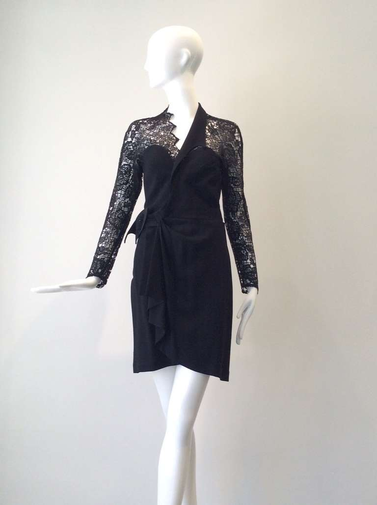 """Sexy Vintage 1990s THIERRY MUGLER  Black Lace Wrap Cocktail Dress. Long sleeve sheer lace and slightly sheer at the back and bodice. Perfect summer cocktail dress Fabric : Crepe and Lace Size : 38 france/  Fit US 2/4 XSMALL - SMALL  Bust: 33"""""""