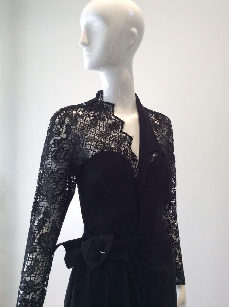 Sexy Vintage 1990s THIERRY MUGLER Black Lace Wrap 90s Dress For Sale 2