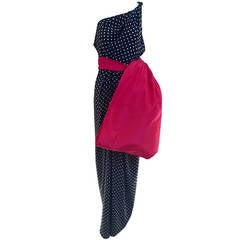 Bill Blass Silk polka dot pink bow gown, 1980s