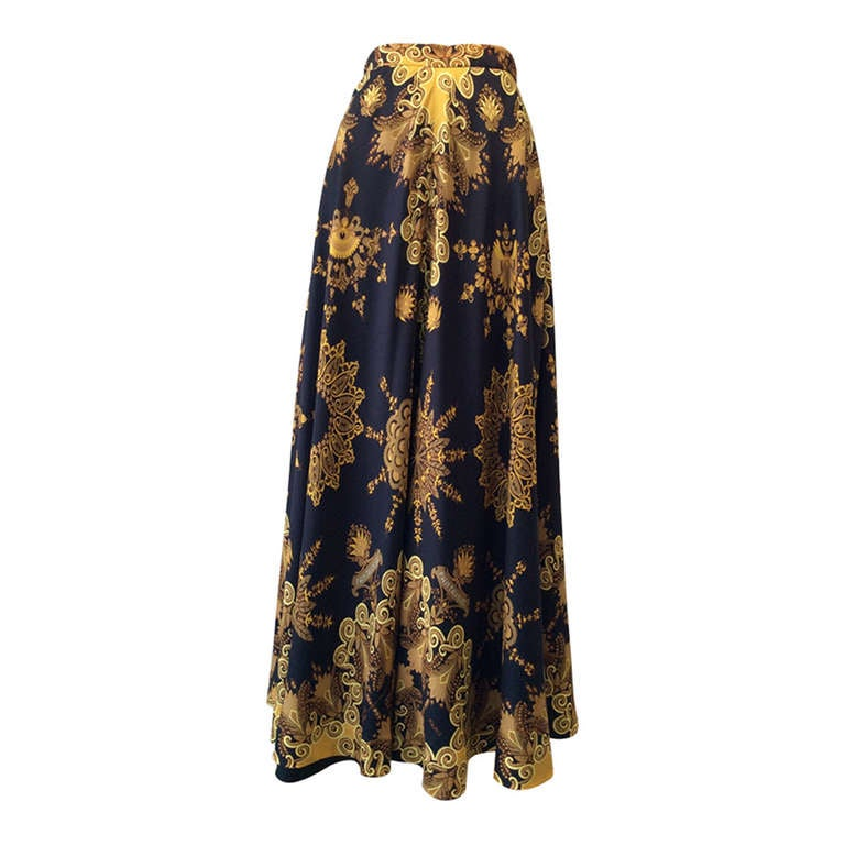 70s HERMES silk maxi skirt at 1stdibs