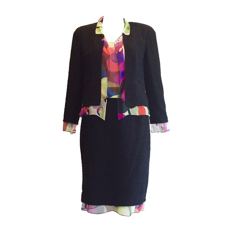 CHANEL Black Jacket With Silk Blouse and Skirt set For Sale