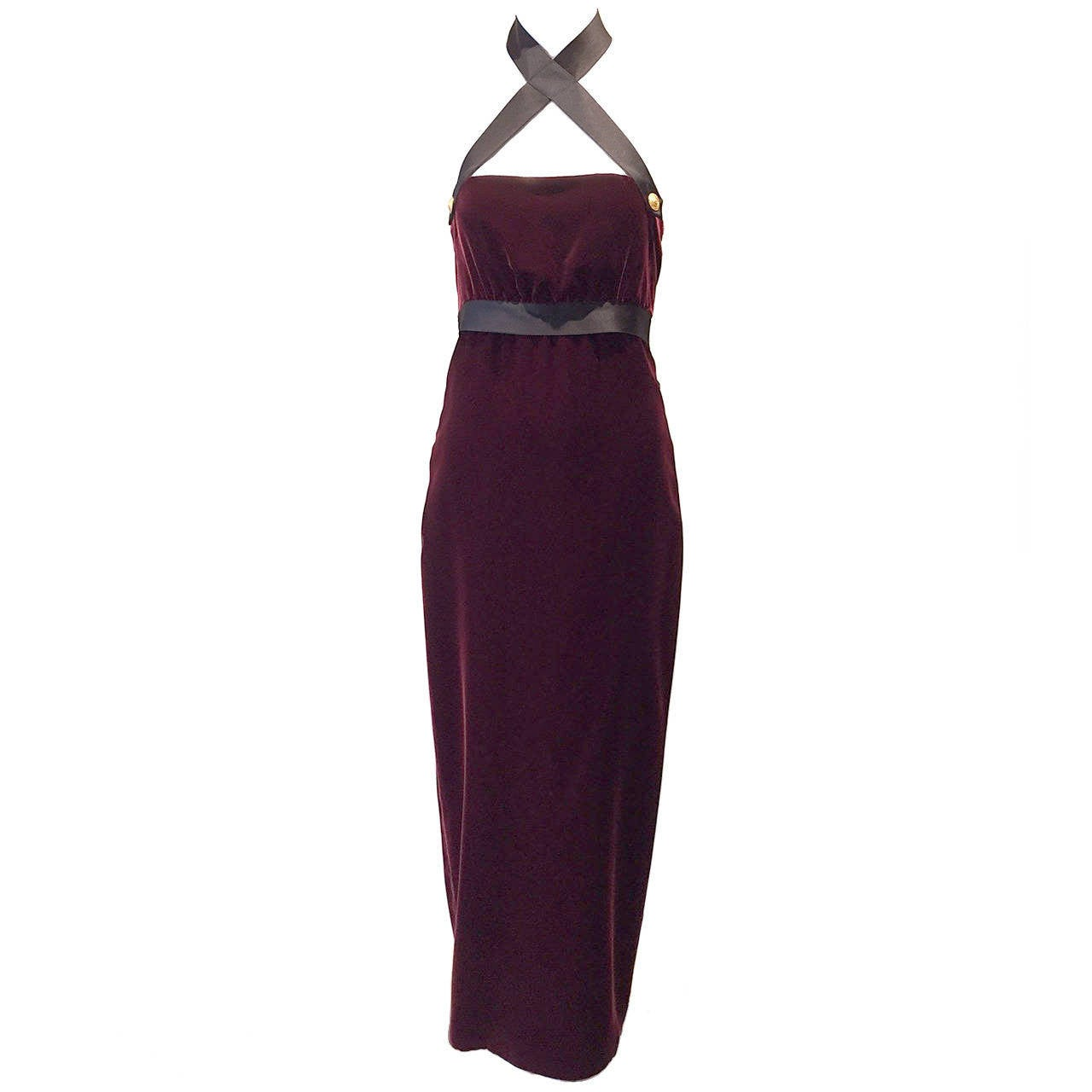 1990s Chanel burgundy velvet halter gown For Sale