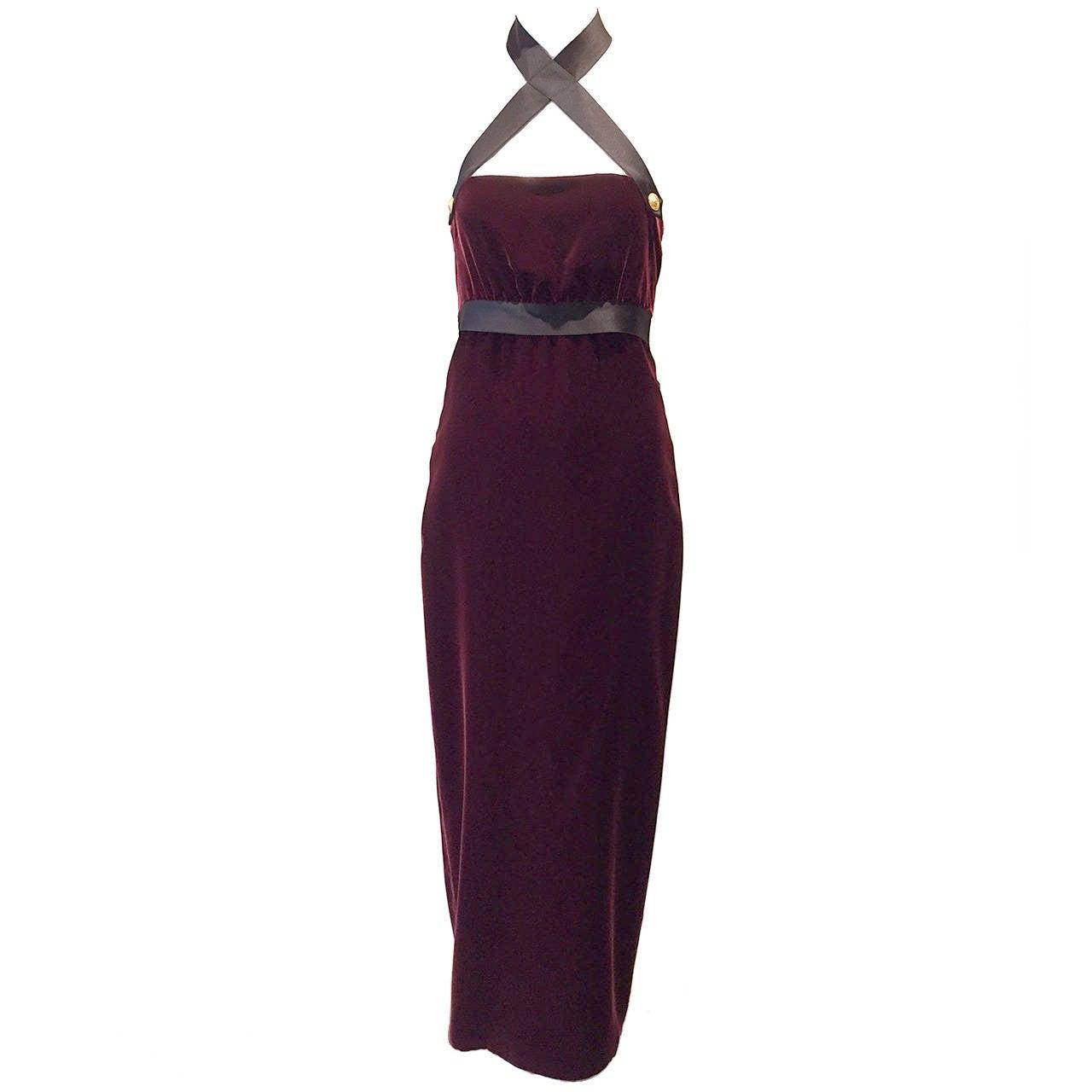 1990s Chanel burgundy velvet halter gown