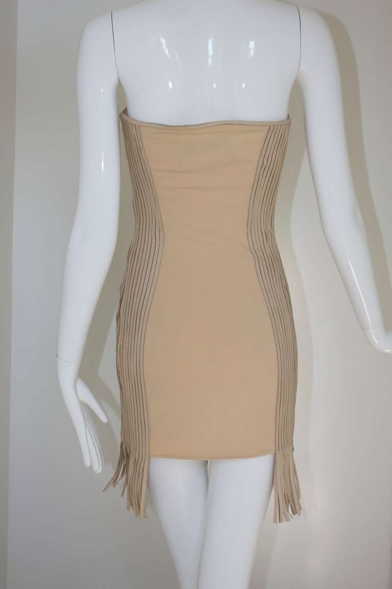90s GIANFRANCO FERRE tan leather  cutout dress 3