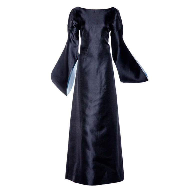 BALENCIAGA  blue silk shantung gown with shawl
