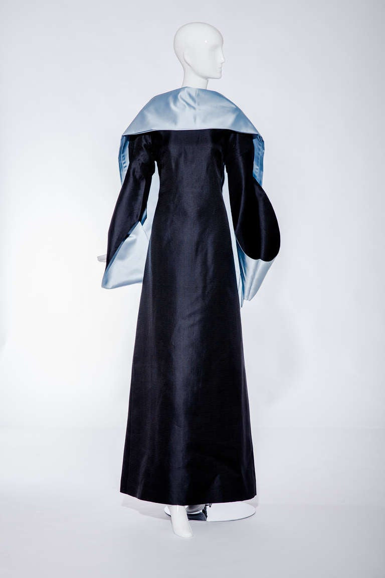 80s BALENCIAGA silk shantung gown with kimono sleeve style. Gown comes with Blue silk shawl. Size : 8 Bust : 38