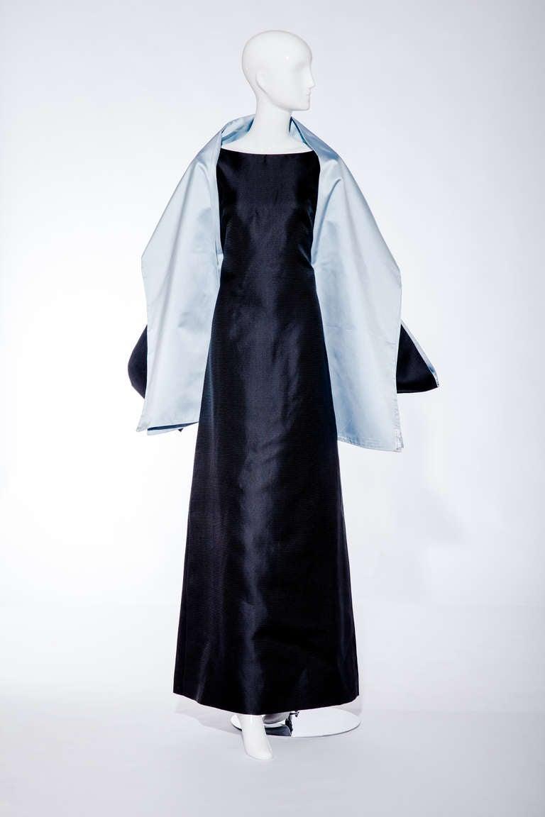Black BALENCIAGA  blue silk shantung gown with shawl For Sale
