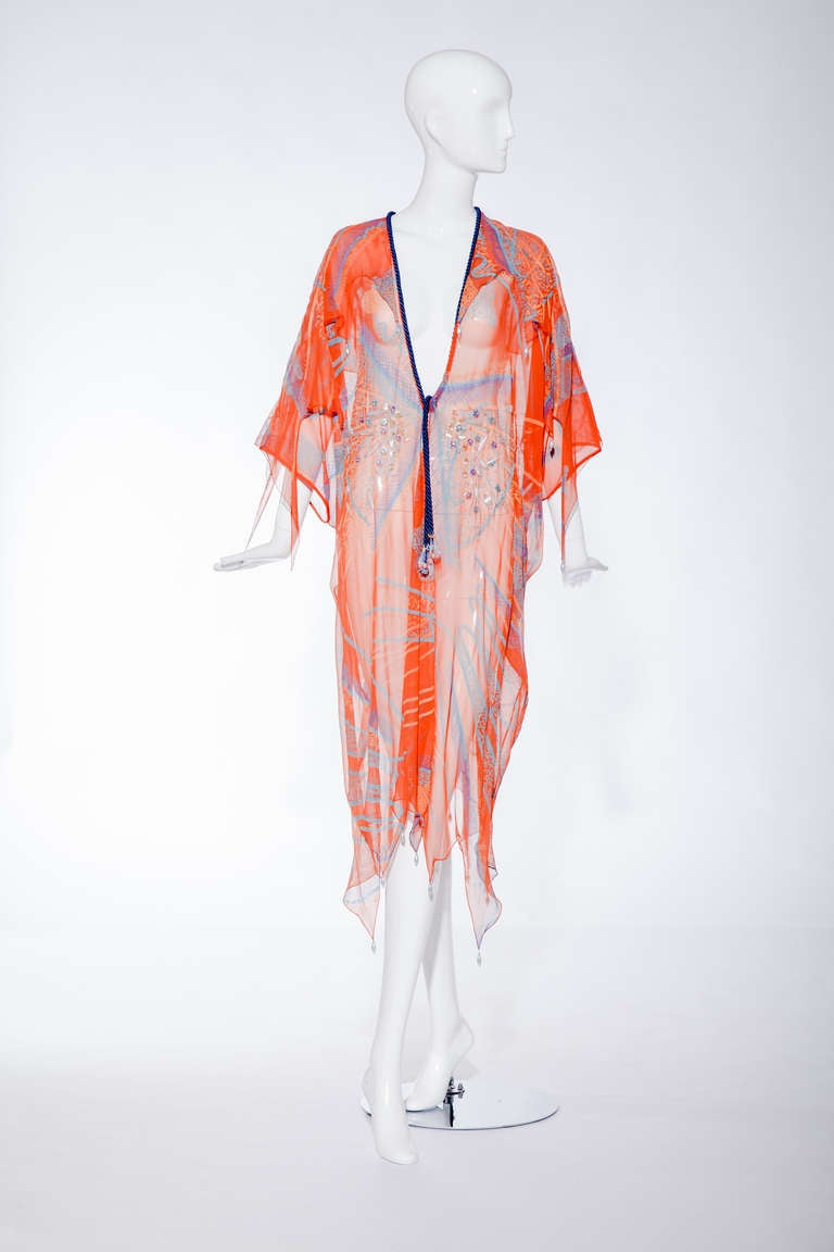 """Orange ZANDRA RHODES  caftan from spring 1976 """"The Mexican Collection"""". For Sale"""