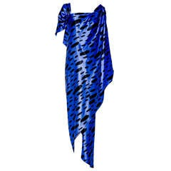 1990s SCAASI blue and black silk charmuse one shoulder gown