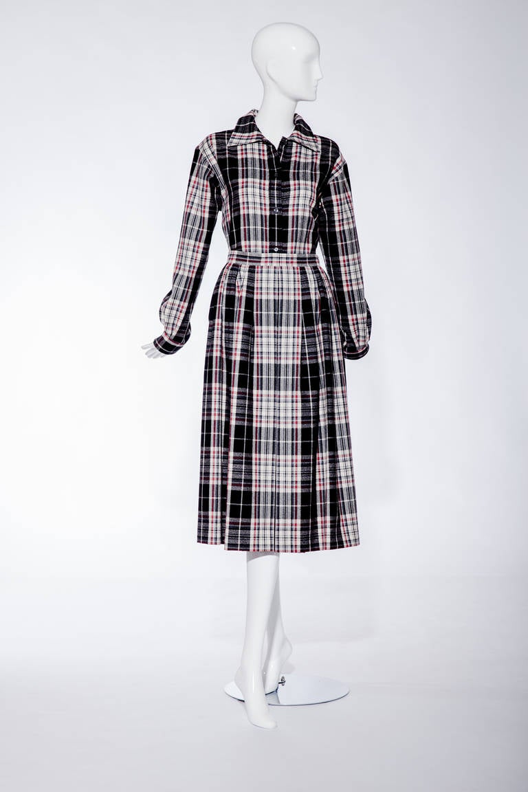 70s SAINT LAURENT wool/flannel plaid shirt and skirt set.