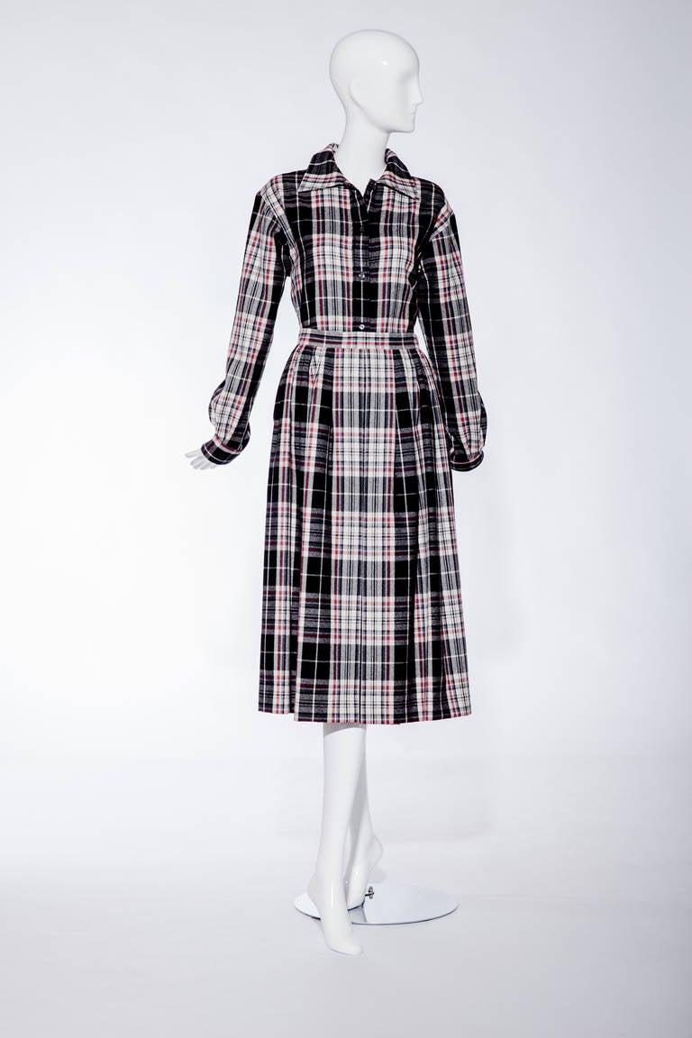 """70s SAINT LAURENT wool/flannel plaid shirt and skirt set. Shirt measurement: Bust: 40""""/ Sleeve length: 23"""" Skirt waist: 26""""/ Skirt Length: 32"""