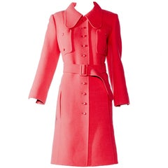 Vintage 1970s Andre Laug red wool mod coat