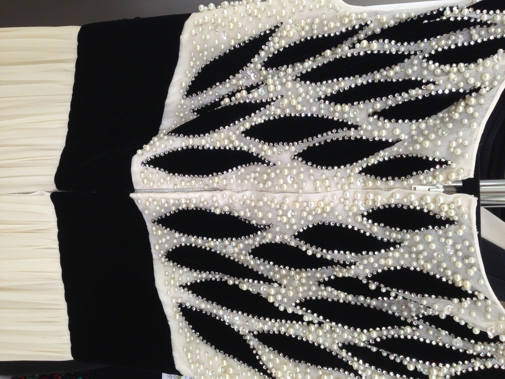 1950s Philip Hulitar Ivory and Black Velvet Pearl Encrusted Beaded Gown For Sale 2
