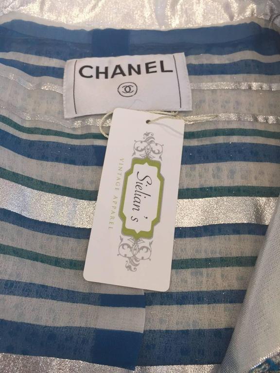 Women's Chanel blue boucle suit and skirt set (3pcs) For Sale