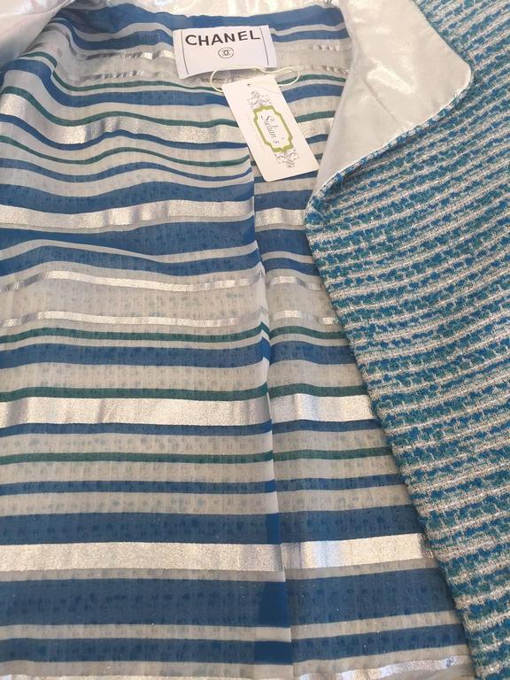 Chanel blue boucle suit and skirt set (3pcs) For Sale 2