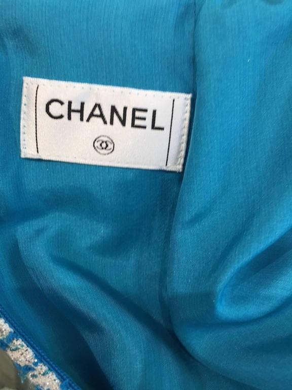 Chanel blue boucle suit and skirt set (3pcs) For Sale 3