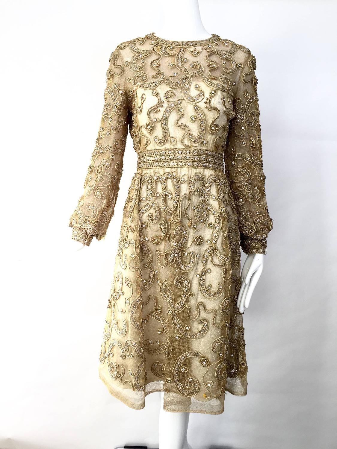 1960s Malcolm Starr gold cocktail dress at 1stdibs