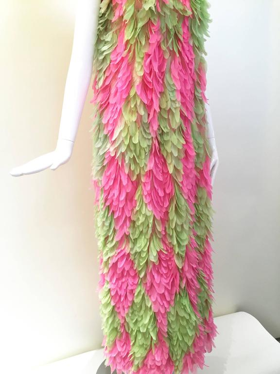 RARE GALANOS 1960s Pink and Green feather dress ( documented)  3