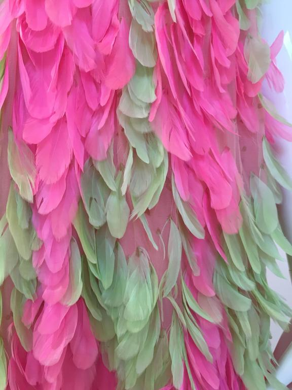 RARE GALANOS 1960s Pink and Green feather dress ( documented)  6