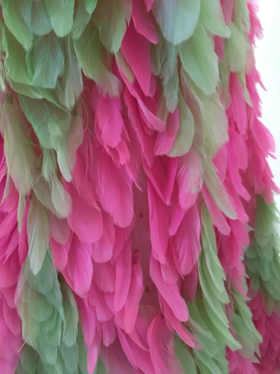 RARE GALANOS 1960s Pink and Green feather dress ( documented)  7