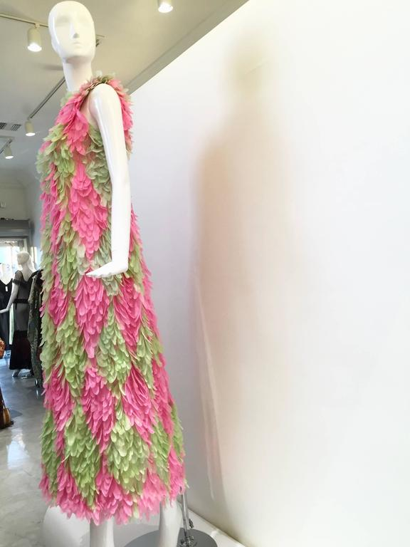 RARE GALANOS 1960s Pink and Green feather dress ( documented)  5