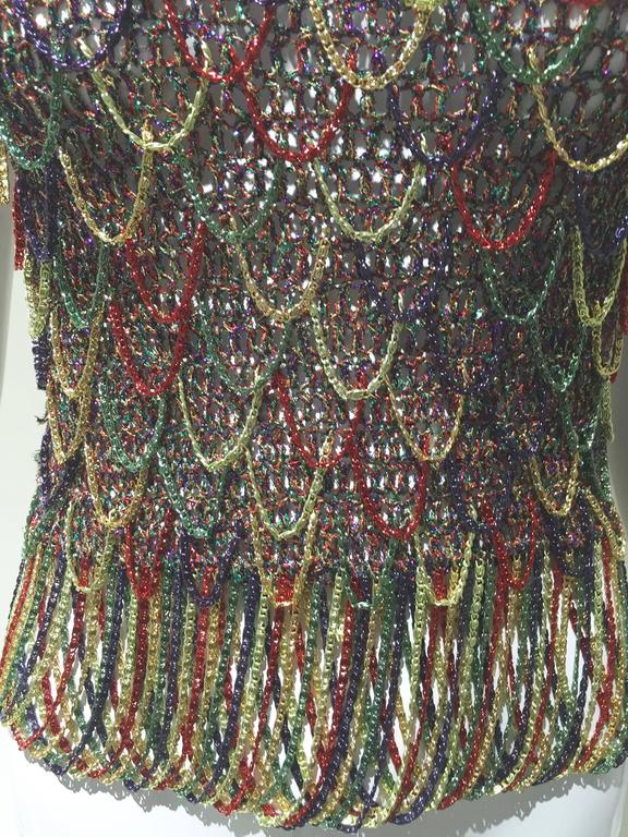 1970s LORIS AZZARO Gold, Red  and Green Chain Mail Sleeveles sexy Tank top.   Size : 2/4 . Small