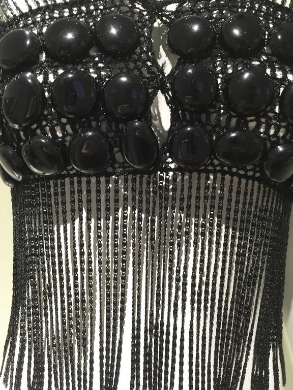 70s BLACK LORIS AZZARO chainmail top.  Bust : 32