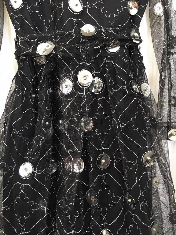 1970s Oscar De La Renta black and silver paillette dress 6