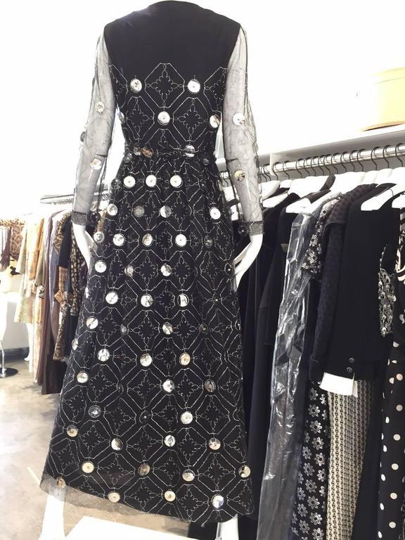 1970s Oscar De La Renta black and silver paillette dress 2