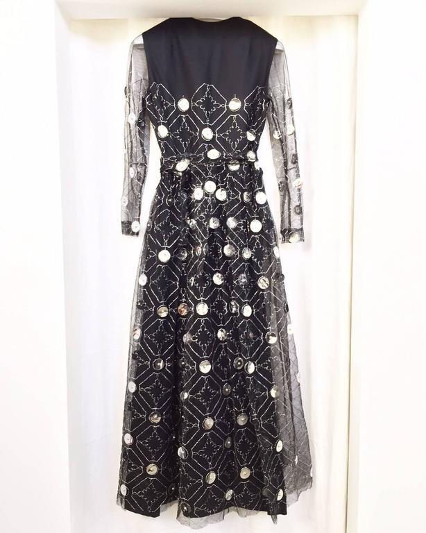 1970s Oscar De La Renta black and silver paillette dress 5