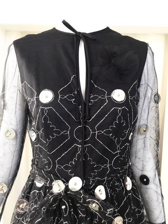 1970s Oscar De La Renta black and silver paillette dress 7