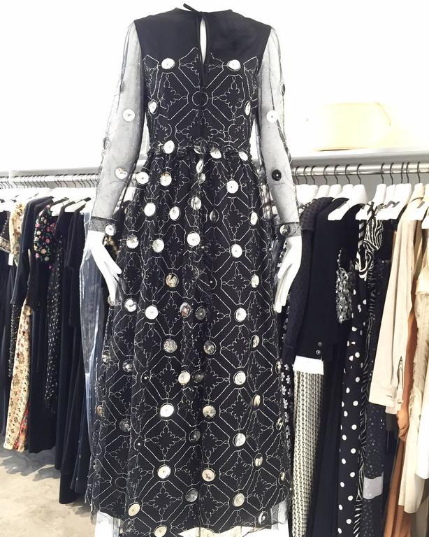 1970s Oscar De La Renta black and silver paillette dress 4