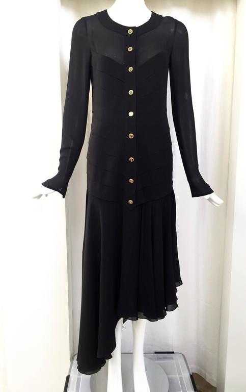 Vintage CHANEL black dress with asymetrical hem For Sale 1