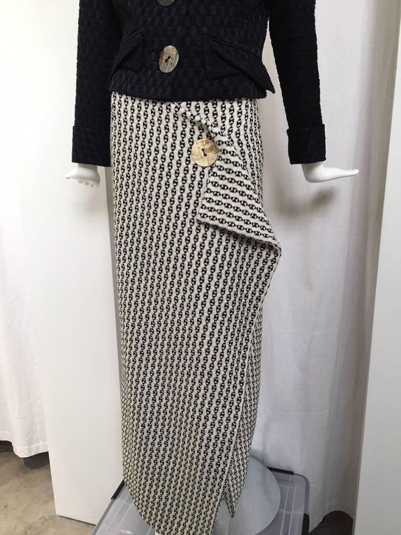 Black Vintage  John Galliano jacket and wool skirt set For Sale
