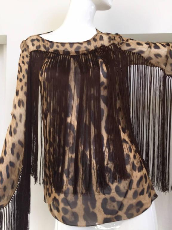 DOLCE & GABBANA  leopard print silk fringe blouse. Size: 38 Bust: 34