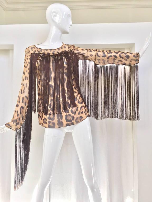 Black Dolce & Gabbana leopard print silk fringe blouse