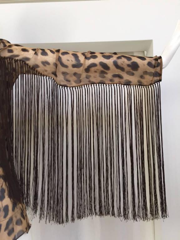 Dolce & Gabbana leopard print silk fringe blouse In Excellent Condition In Beverly Hills, CA