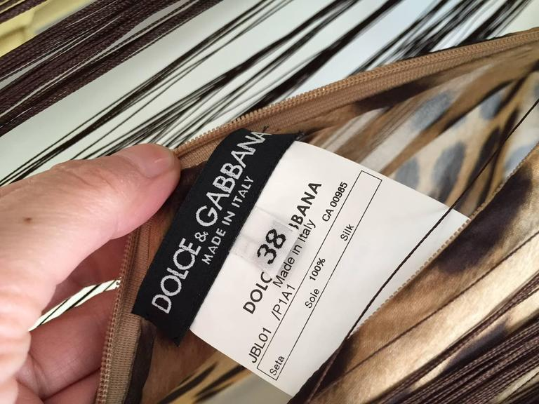 Women's Dolce & Gabbana leopard print silk fringe blouse