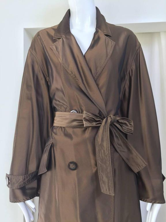 1980s KRIZIA POI bronze silk light trench coat.