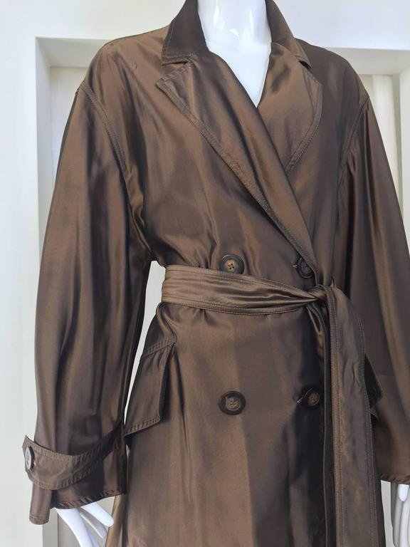 Gray Krizia Poi bronze light silk trench coat, 1980s  For Sale