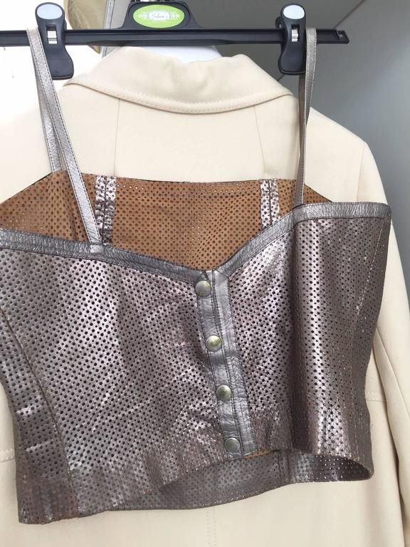 1980s Ted Lapidus perforated leather top and skirt set For Sale 1