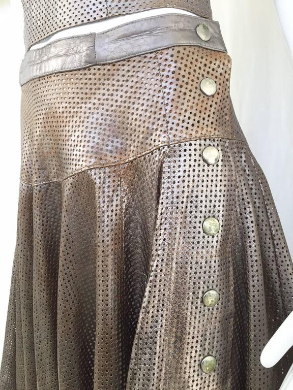 1980s Ted Lapidus perforated leather top and skirt set In Good Condition For Sale In Beverly Hills, CA
