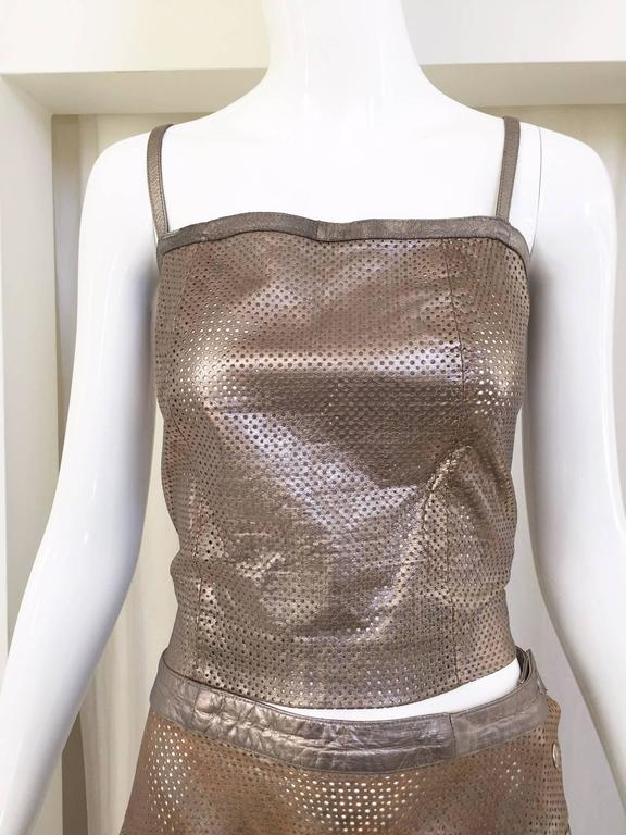 Women's 1980s Ted Lapidus perforated leather top and skirt set For Sale