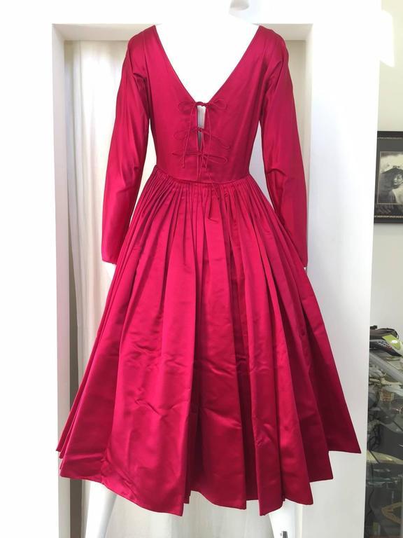 1950s GALANOS Magenta Red Silk Cocktail Dress 2