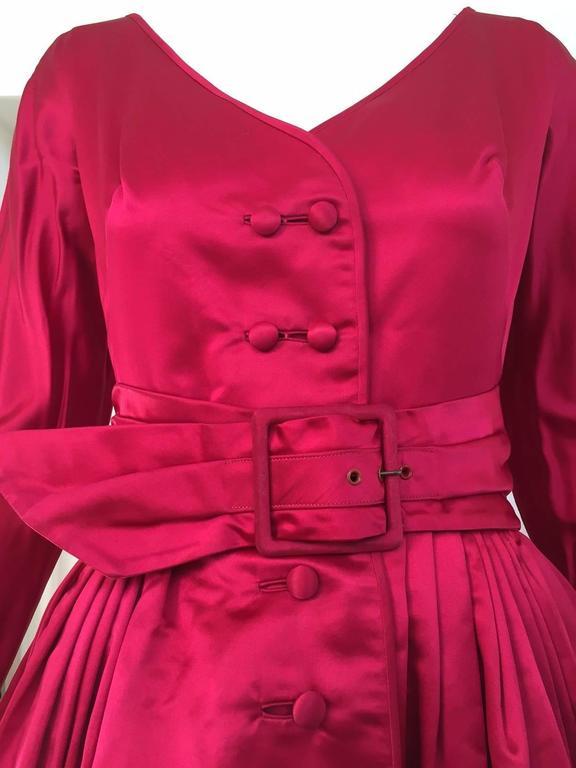1950s GALANOS Magenta Red Silk Cocktail Dress 3
