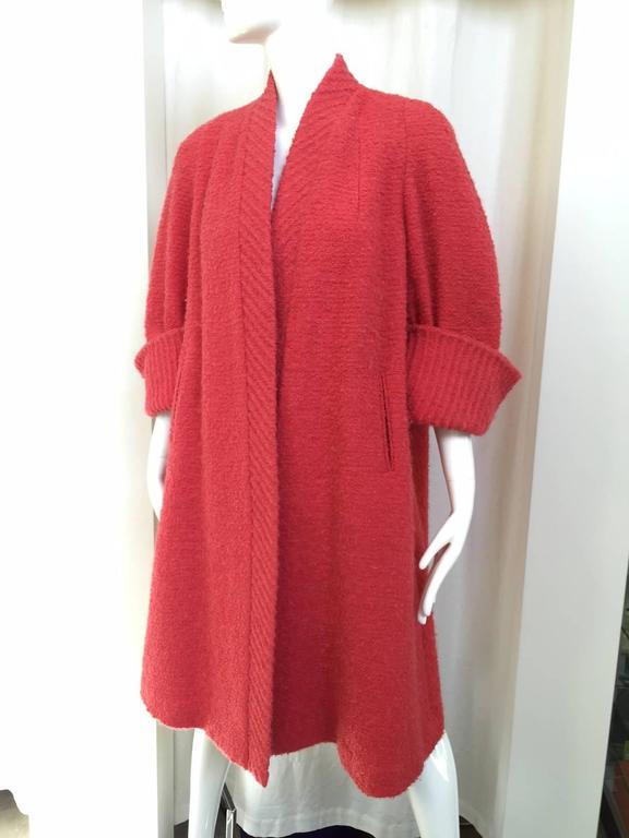 1950s Salmon Pink Wool Swing Coat 4